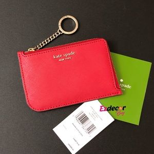 NWT Kate Spade Cameron L-Zip Card Holder Red